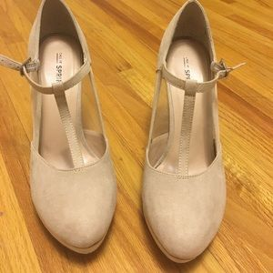 Call It Spring Shoes - Beige suede heels