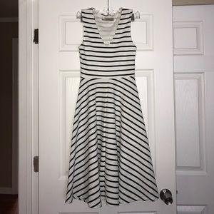 ASOS White & Black Striped Midi Dress 0