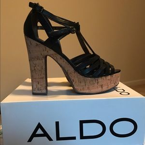 ALDO Ibanez-97 Cork Sole Black Sandal Heels, used for sale
