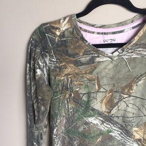 Camo Tops - Long Sleeve V-neck Camo Shirt