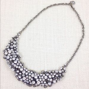 J Crew silver crystal cluster bib necklace