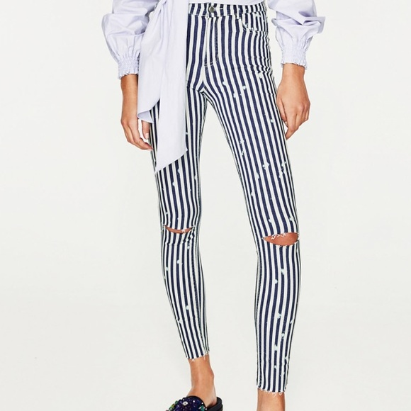 33% off Zara Denim - Zara High Waist High Elasticity Striped Jeans ...