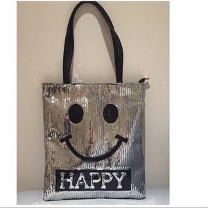 Handbags - 🎉🎉HP🎉🎉 Happy Face Silver Black Sequin Tote Bag