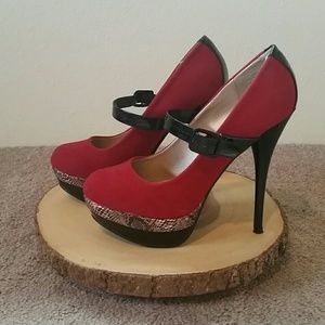 Qupid Shoes - Red multi colored heels
