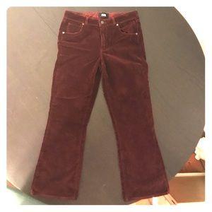 Cropped velvet flare pants