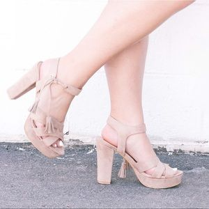 Seven Dials Shoes - Taupe Suede Chunky Heels!