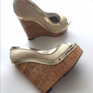 Adrienne Maloof Shoes - Adrienne Maloof Cork Wedge peep toe Sandals size 8