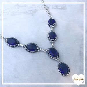 Silver + blue gemstone statement drop Y  necklace