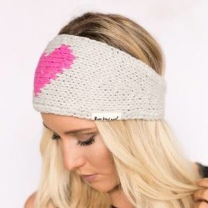 Three Bird Nest Accessories - KNITTED HEART HEADBAND IN PINK & TAUPE