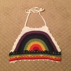 Rainbow crocheted halter crop top