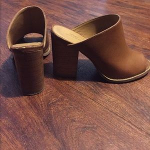 Urban Outfitters Shoes - URBAN OUTFITTERS TAN PEEP-TOE MULES