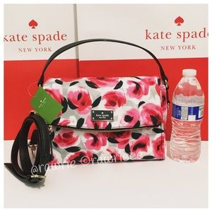 SALE New Kate Spade multi roses flap small Satchel