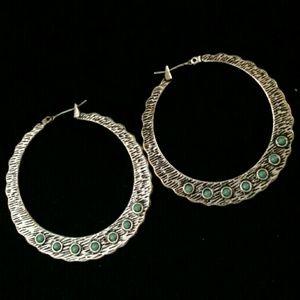Silver hoop earrings w/faux turquoise