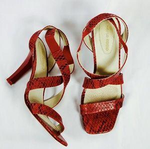 Corso Como Shoes - [Corso Como] Red Strappy Snakeskin Heels