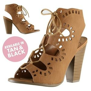 Shoes - TAN Laser Cut Lace-Up Caged Open Toe Booties NIB