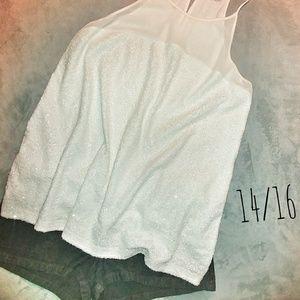 Lane Bryant Tops - 🇺🇸💜PLUS SIZE  Lane Bryant White Sequin Tank(14)