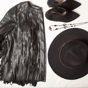 Jackets & Blazers - Trouve Black Fringe Faux Leather Jacket