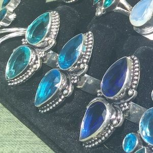 choice any of 3 blue double pear 925 silver rings