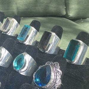 Jewelry - Huge statement cigar band gemstone rings choice
