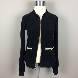 Juicy Couture black terry cloth zip up