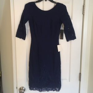 Lulus navy blue lace bodycon NWT
