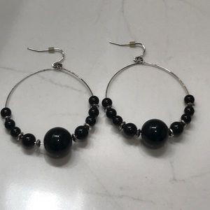 Jewelry - Black Beaded & Silver Earrings
