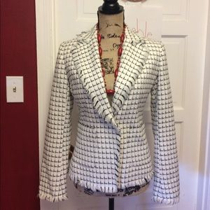 New York & Company Jackets & Blazers - Cute white and black fringe blazer