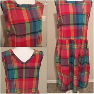 Vintage 80's early 90's plaid dress with pockets