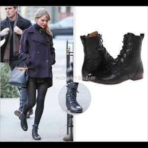 Frye Shoes - Frye Jillian Pebbled Leather Lace-Up Black Boots