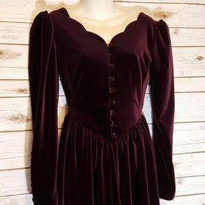 Laura Ashley Dresses & Skirts - {vintage} Laura Ashley wine red velvet dress