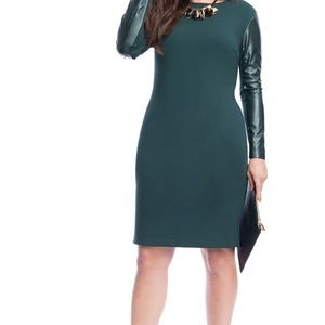 Eloquii faux leather sleeves dress