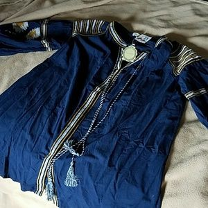 NWOT Blue tunic style top with bell sleeves