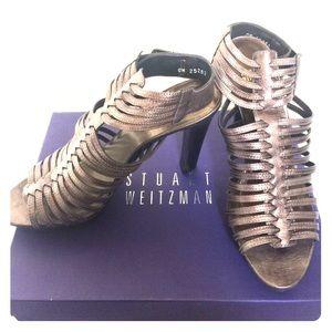 Stuart Weitzman Shoes - EUC Stuart Weitzman metallic leather sandal heel