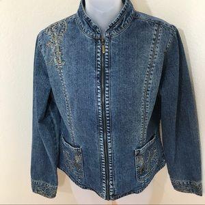 Chico's Denim Embroidered Jacket sz 1