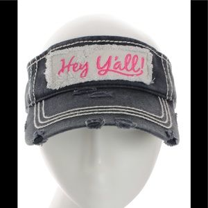 Accessories - Distressed Hey Y all Sun Visor Country Hat Black 9111c07ff5b1