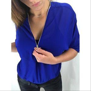 Tops - Christie Zip Bodysuit In Electric Blue