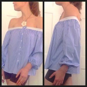 Five O'clock Wear Tops - 💖Ashley Striped off the shoulder blouse