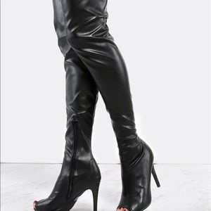 Black Peep Toe Stiletto Thigh High Boots (NWB)
