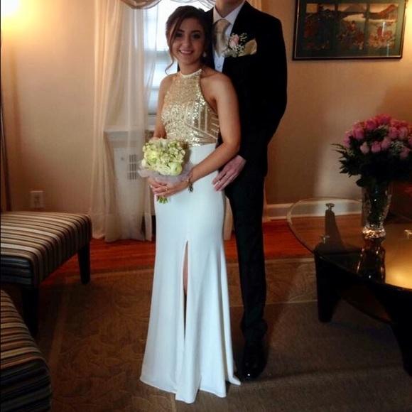 cac3334393503 David's Bridal Dresses   White And Gold Formal Prom Dress   Poshmark