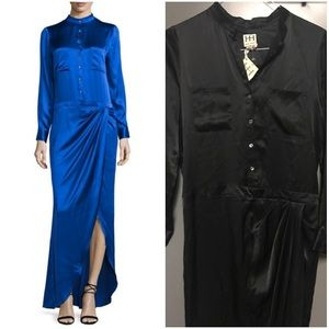 Haute Hippie Black Silk Long Sleeve Maxi Dress