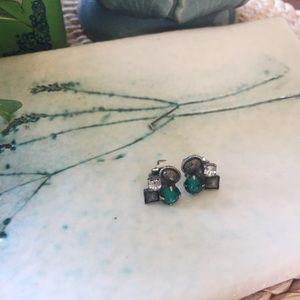 Sorrelli Jewelry - Sorrelli Stud Earring Cluster Green Gray Stones