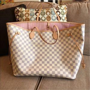 Louis Vuitton Handbags - Louis Vuitton Neverfull Damier Azur Rose GM
