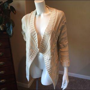 White + Warren Sweaters - White + Warren M cream cable knit drape cardigan