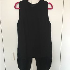 Public School Tops - Black silk tunic top with with open v back