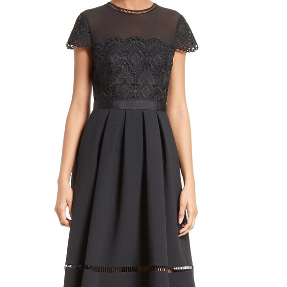 8cb4e8c3bffb Ted baker frizay lace bodice black flared dress