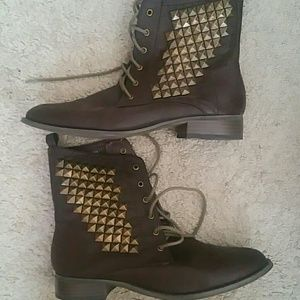 Brown high top boots