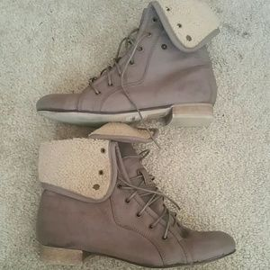 Taupe high top boots