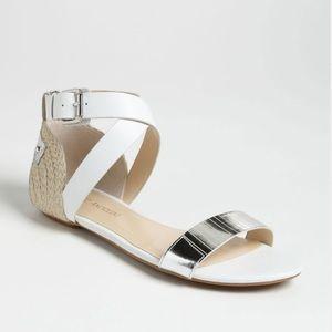 Enzo Angiolini Shoes - Enzo Angiolini Katrynn Sandals White & Silver
