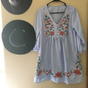 Dresses & Skirts - Embroidered babydoll dress