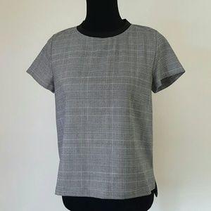 Zara Basic Black Plaid Top Size Medium